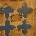 8 pointed star tile fragment and cross tiles in situ on wall of Tomb Chamber of the Shrine (Khanaqah) of Shaykh 'Abd al-Samad